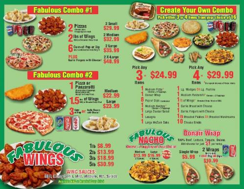 Fabulous 2 for 1 Pizza and Wings - Flyer - INCREASED PRICES Page 2
