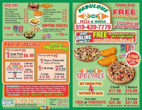 Fabulous 2 for 1 Pizza and Wings - Flyer